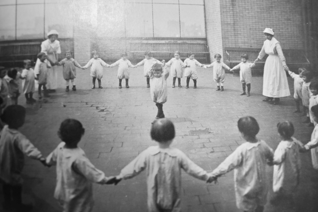 NEW YORK STREET KIDS--Courtesy of Children's Aid Society: Circle game at the Nursery of The Italian School in NYC