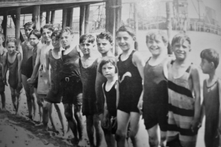NEW YORK STREET KIDS--Courtesy of Children's Aid Society:  Bathers at the beach at a Children's Aid Society home in Coney Island