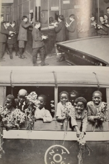 NEW YORK STREET KIDS--Courtesy of Children's Aid Society: (Top) Boy's Business Bank established by The Children's Aid Society. (Bottom) The Flower Mission brings flowers to the halt and infirm in an effort to brighten their day
